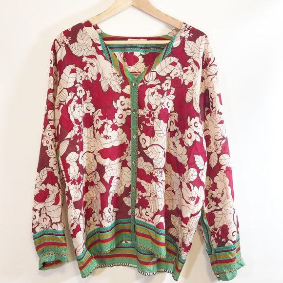 Johnny Was Tops - Johnny Was Silk Top Size M Boho Print